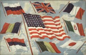 WWI Era American Flag & Flags of Allies Russia France Italy Japan Postcard
