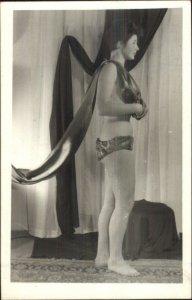 Semi Nude Woman Postmodernism Staging & Pose Real Photo Postcard