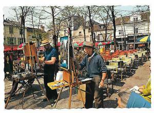 France Paris Artists Montmartre Place du Tertre Painters Vtg 4X6 Postcard