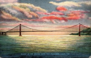 California San Francisco Sunset At The Golden Gate 1942