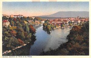Geneve Jonction de I'Arve et du Rhone Switzerland Paper on back
