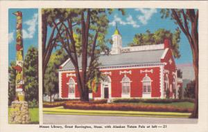 GREAT BARRINGTON, Massachusetts; Mason Library with Alaskan Totem Pole, 30-40s