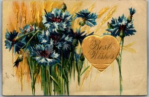 1909 Embossed Greetings Postcard Best Wishes w/ Flowers & Satin Cloth Heart