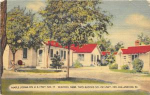 Wahoo Nebraska 1947 Postcard Maple Lodge Inn Motel