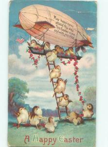 Pre-Linen Easter HUMANIZED CHICKS RIDING ON ZEPPELIN AB3792