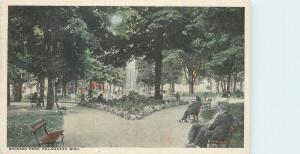 Kalamazoo Michigan~Bronson Park Fountain~Men on Benches~1917 Postcard