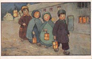 US3543 Faulkner Children with Candles Street Painting artist signed faulkner