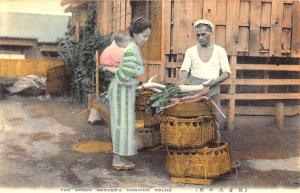 Early Japanese The Green Grocer's Morning Round Postcard