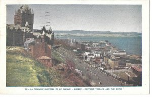Canada Quebec Chateau Frontenac Dufferin Terrace St Lawrence River Vntg Postcard