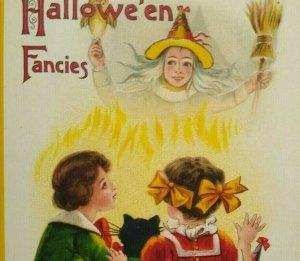 Vintage Halloween Fancies Postcard Aleinmuller Witch Owl Black Cat Embossed 1002