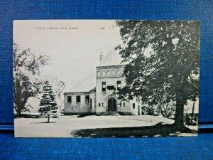 Public Library, Bath, Maine Photolux Vintage Postcard