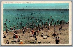 Postcard Atlantic Highlands NJ c1920s Beach Scene Bathers Monmouth County