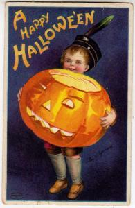 Happy Halloween, Boy w JOL signed Ellen H Clapsaddle