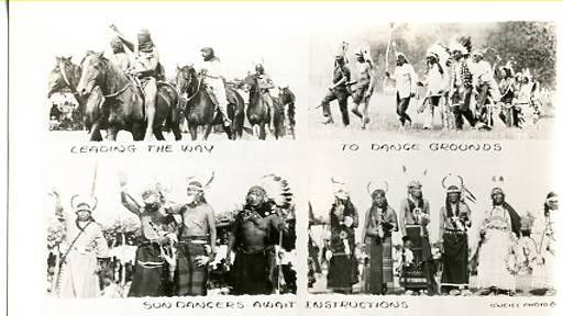 Indians Leading the Way to Dance Grounds, Sun Dancers  **RPPC**  4 Views