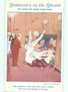 1920's Postcard Ad SIMPSONS IN THE STRAND RESTAURANT IN LONDON ENGLAND UK AB8839
