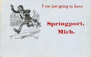 Just Going to Leave Springport Michigan~Bulldog Hangs on Man's Coattails~c1910