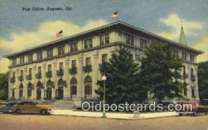 Augusta, GA USA,  Post Office Postcard, Postoffice Post Card Old Vintage Anti...