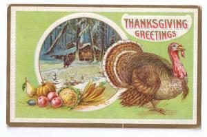 Thanksgiving Turkey Log Cabin Snow Winter Scene Vintage Embossed Postcard