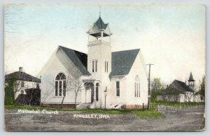 Kingsley Iowa~Methodist Church~Home & School~Post Fence~Dirt Road~1908 Postcard