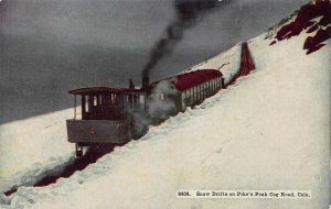 Snow Drifts on Pike's Peak Cog Road, Colorado, Early Postcard, Unused