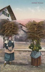 Costumi Ticinesi, Switzerland, 00-10s ; Women carrying wood