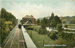 Brookline Hills Station Massachusetts C-1910 Railroad Depot Postcard 21-2504