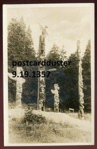 1357 - VANCOUVER BC 1930s Stanley Park Totem Poles. Real Photo Postcard by Gowen