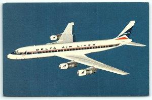 VTG Postcard Delta Airlines Airplane Aviation Jet Fanjet Doulas DC-8 Tourist A5