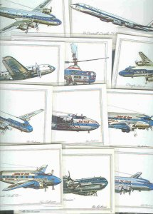 pc2678 postcard Roy Anderson colorful airplane sketches NINETEEN Different