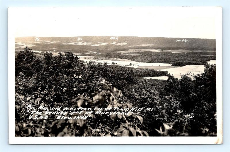 Postcard MD View From Top of Tower Hill Mountain US Route 40 RPPC Photo A35