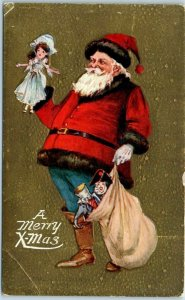 Vintage SANTA CLAUS Christmas Postcard Merry Xmas Red Suit / Blue Pants 1910s