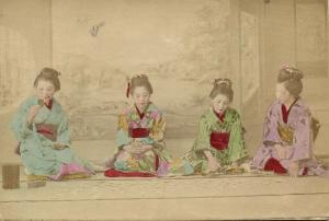 japan, Four Beautiful Geisha Ladies playing at Cards (1899) Hand Painted RPPC