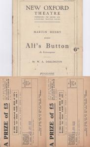 Alfs Button Military New Oxford Theatre Programme & 2 Postcard s