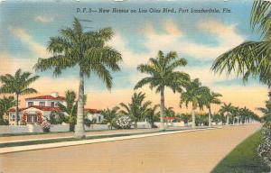 Fort Lauderdale Florida Las Olas Blvd. pm 1944 new homes linen Postcard