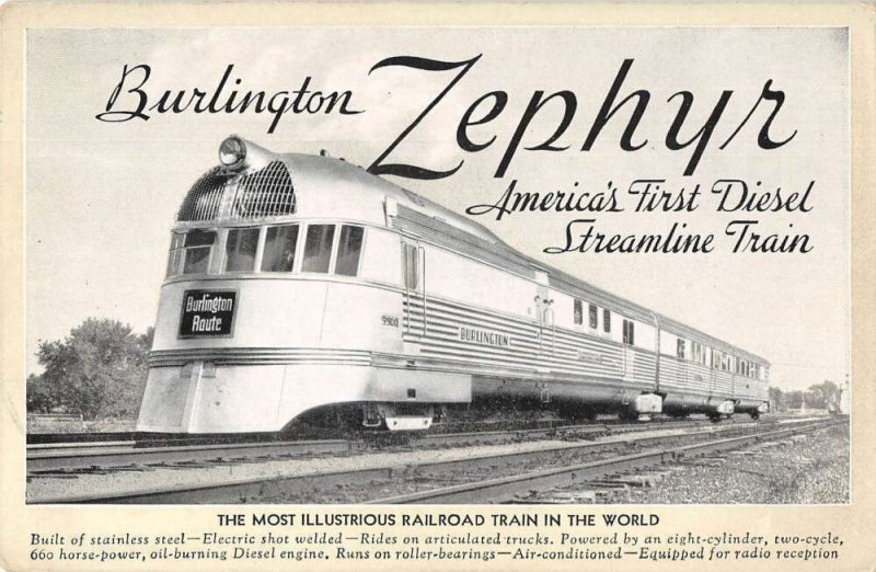Burlington Route Zephyr Diesel Streamline Train Vintage Postcard AA18689