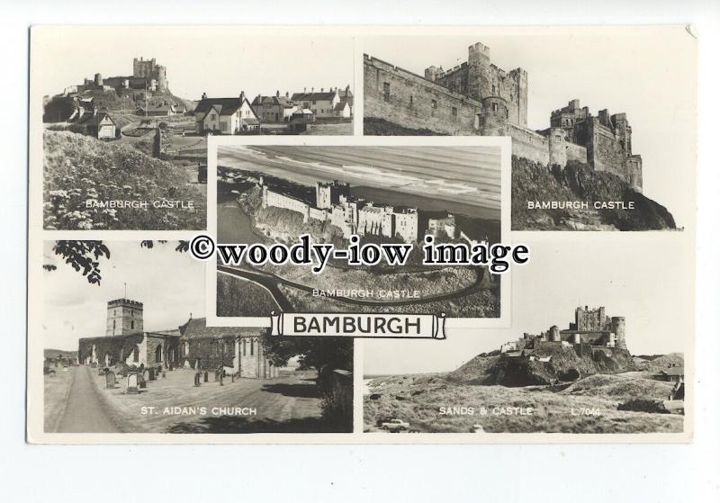 tq1645 - N'Humb - Multiview x 5 of the Church & Castle, in Bamburgh - Postcard