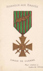 French Medal for Honneur Aux Braves, Croix De Guerre , WWI
