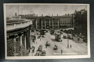 Mint Vintage Trinity College Dublin Lots of Cars RPPC Real Photo Postcard