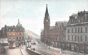 Scotland, UK Old Vintage Antique Post Card New Cross & Town Hall Unused