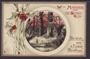 A Happy Christmas,Holly,Scene Postcard
