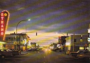 Canada British Columbia Prince George 3rd Avenue At Night