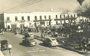 Autos Street Scene 1954 Mexico Tamaulipas RPPC real photo postcard 7582