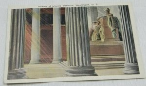 Vintage Interior of Lincoln Memorial, Washington, D. C. Postcard 1915-1930