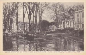 Vermont Montpelier Flood Wreckage State Street Showing State House 1927 Alber...