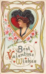 E36/ Valentine's Day Love Holiday Postcard 1919 Woman Fancy Border Heart 32