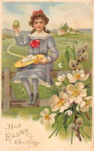 Easter Greeting Girl On Fence Eggs In Hat Antique Postcard K78548