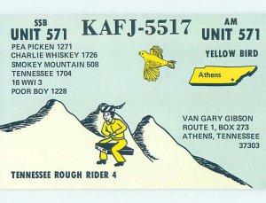 Pre-1980 RADIO CARD - CB HAM OR QSL Athens Tennessee TN AH2780