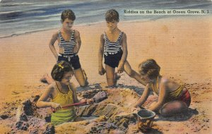Kiddies On the Beach at Ocean Grove, New Jersey, Early Linen Postcard, Unused
