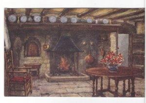 Anne Hathaway's Cottage Interior - Vintage Art Postcard - Signed WW Quatremain