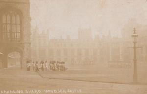 Changing Guard Windsor Castle Military Berkshire Antique Old Real Photo Postcard